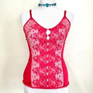 Vintage 1980s Vanity Fair Red Lace Camisole Top